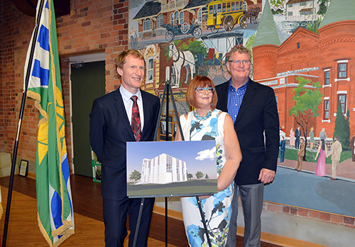 From left – Marc Miller, Parliamentary Secretary to the Minister of Infrastructure and Communities, and Ann Hoggarth, MPP for Barrie, join City of Orillia Mayor Steve Clarke for a $2.2 million funding announcement for the City of Orillia through the Clean Water and Wastewater Fund.  The funding will go towards Orillia's $14.5 million wastewater tertiary treatment project.