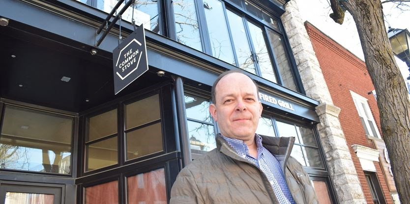 Toronto-based architect, and Orillia native, Chris Montgomery says Orillia's downtown is appealing to investors due to its relatively affordable real estate and charming setting. Montgomery is renovating a Mississaga Street West building to house a restaurant and apartments.