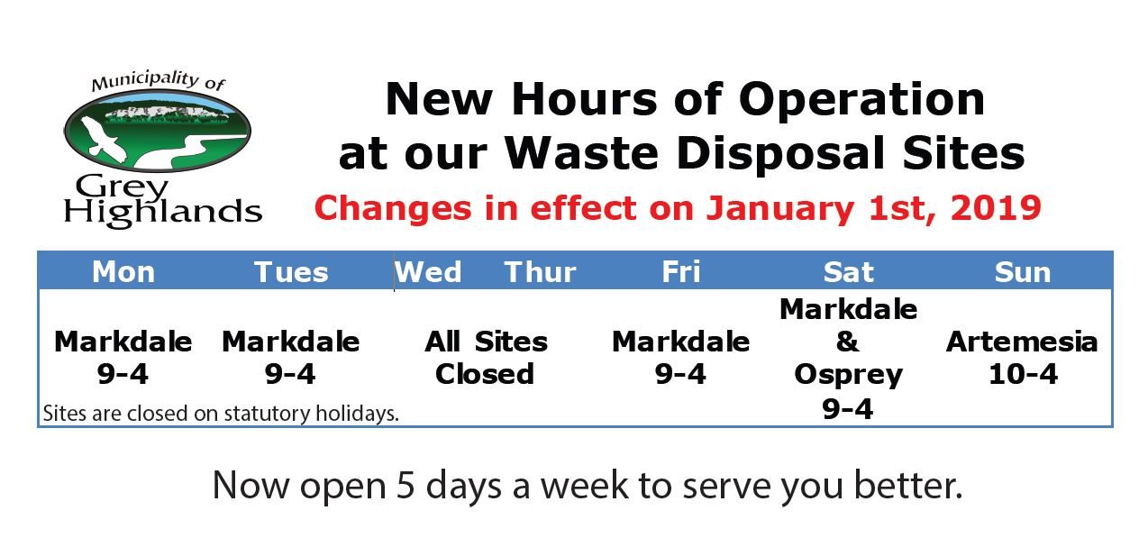 Waste Disposal New Hours