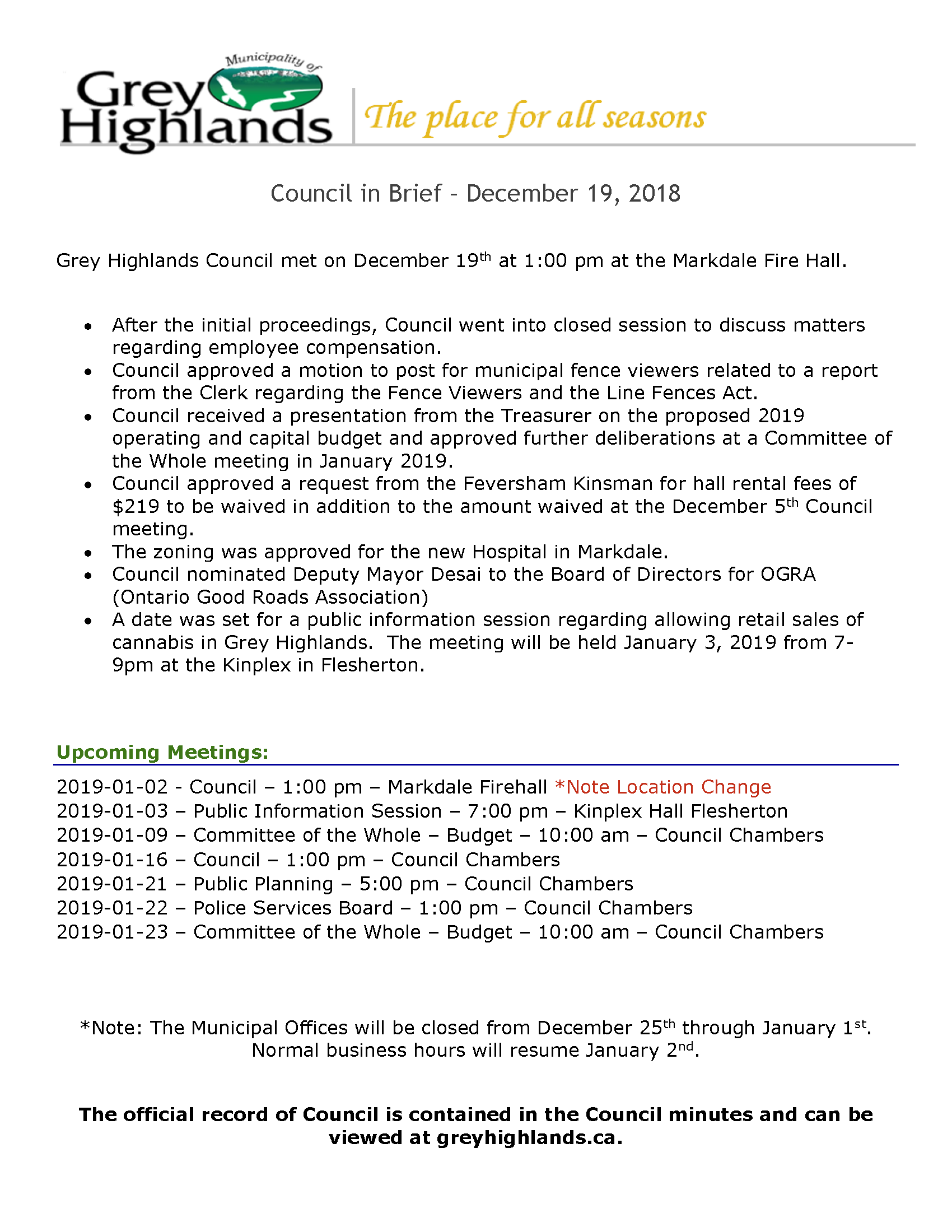 Council Highlights - December 19, 2018