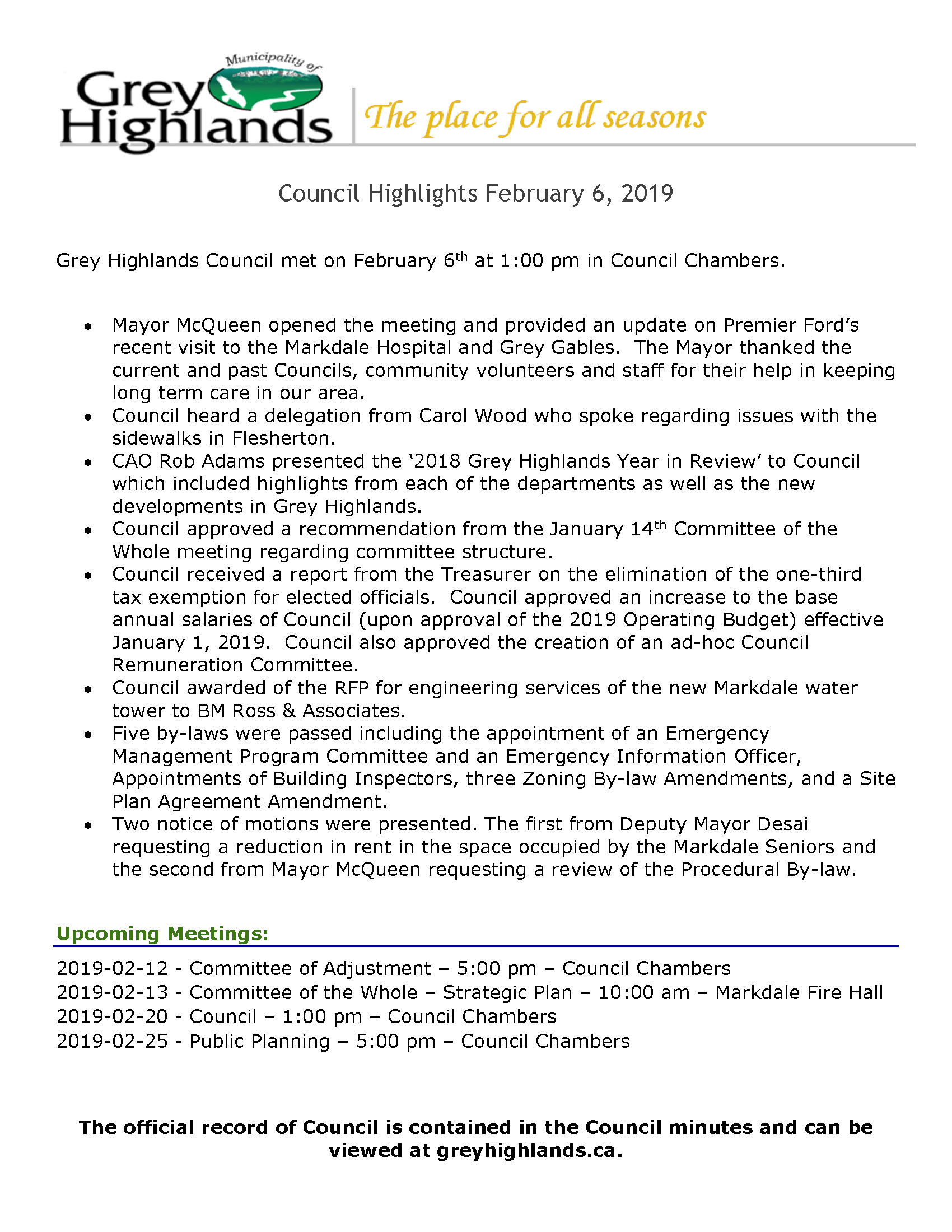 Council Highlights - February 6, 2019