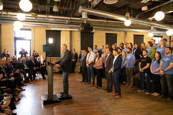 Ian Klugman announcing the new federal funding for Communitech