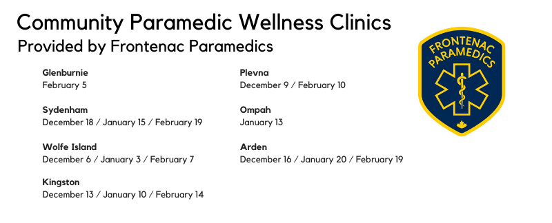 Community Paramedicine clinics December, January, February