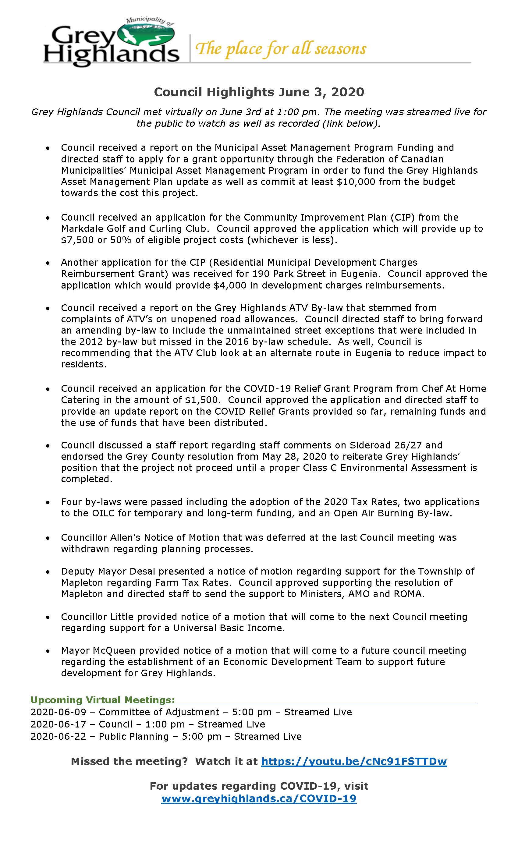 Council Highlights - June 3, 2020