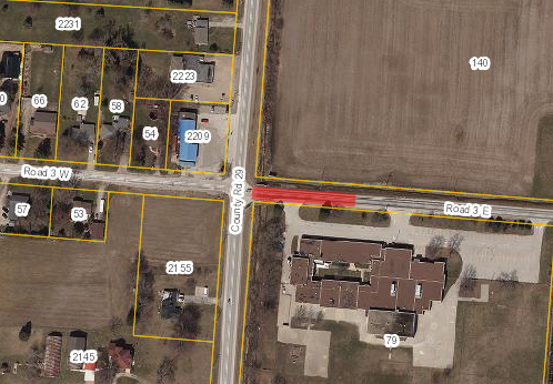 Map of Kingsville showing closure of Road 3 East in red