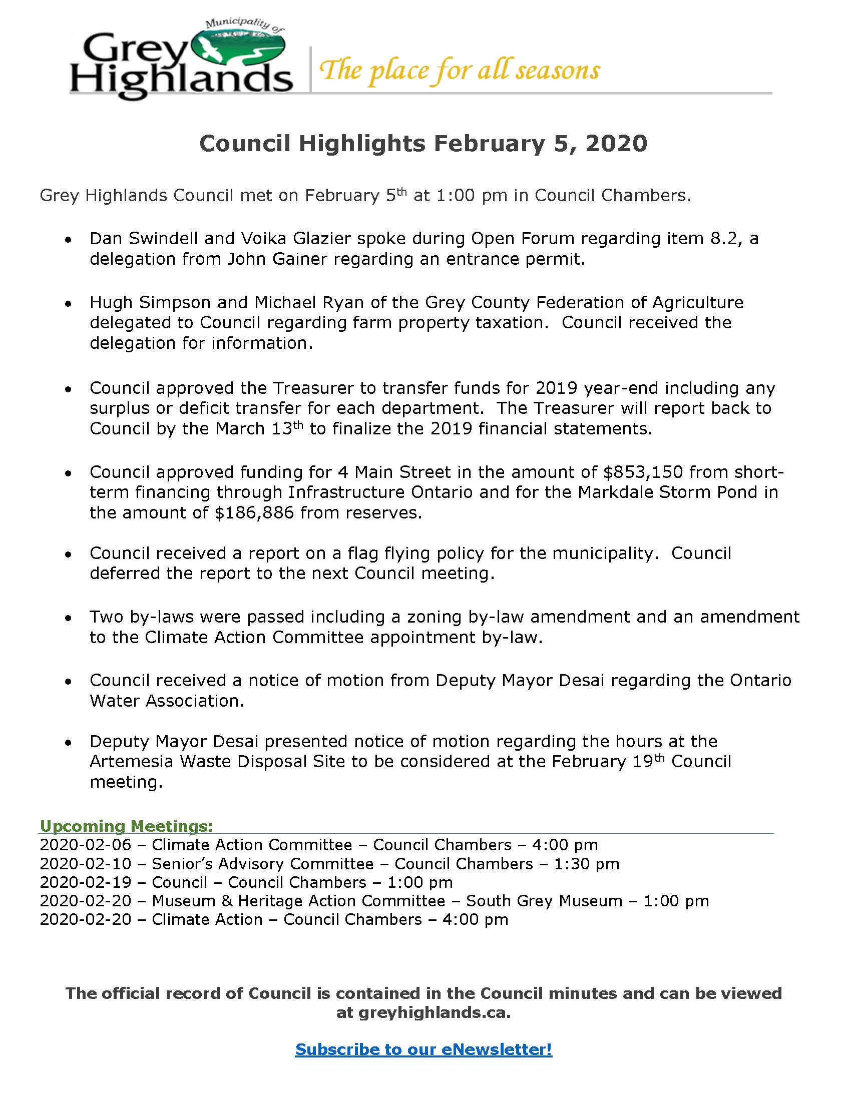 Council Highlights Feb 5