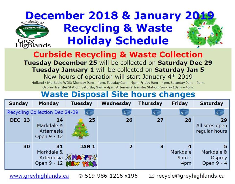 Holiday Waste & Recycling Schedule