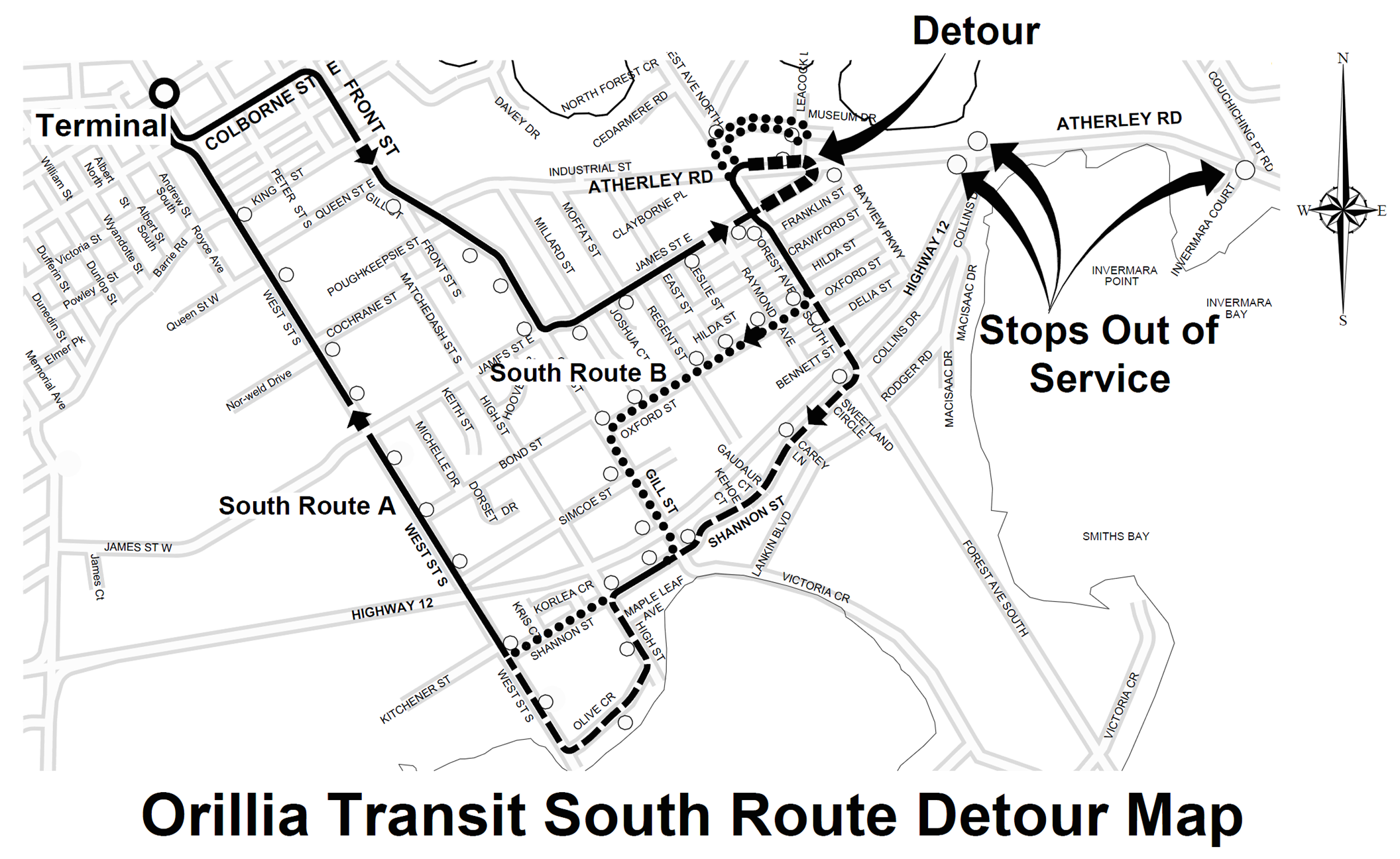 Transit Detour Map