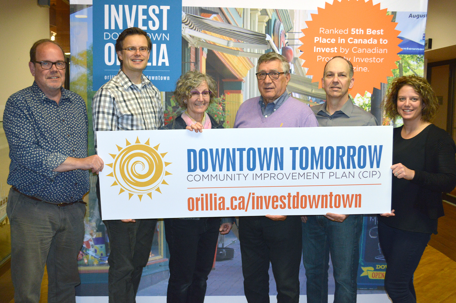 From left, Ian Bromley, Director of Economic Development, Jeff Pitcher, grant recipient, Susan Willsey, grant recipient, Coun. Ralph Cipolla, Ron Spencer, Downtown Orillia Management Board, Lisa Thomson-Roop, Downtown Orillia Management Board are pictured at the announcement of the second round of grants as part of the Downtown Tomorrow Community Improvement Plan Grant Program on May 24, 2017.