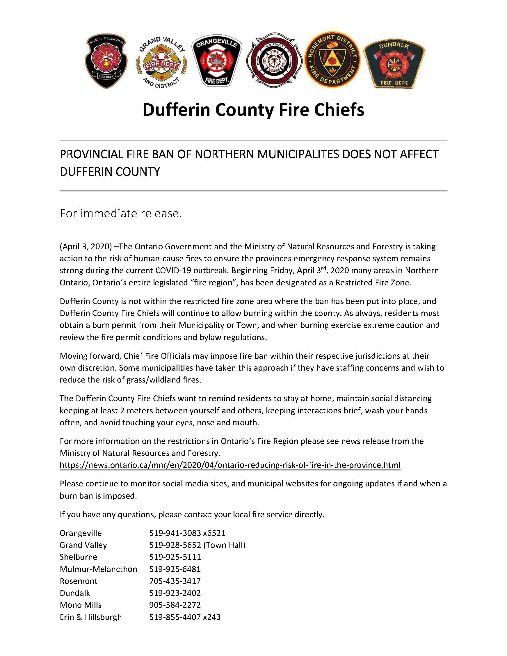 press release - fire ban