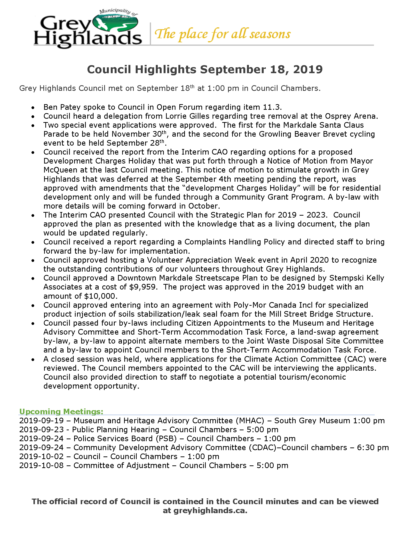 Council Highlights - September 18, 2019