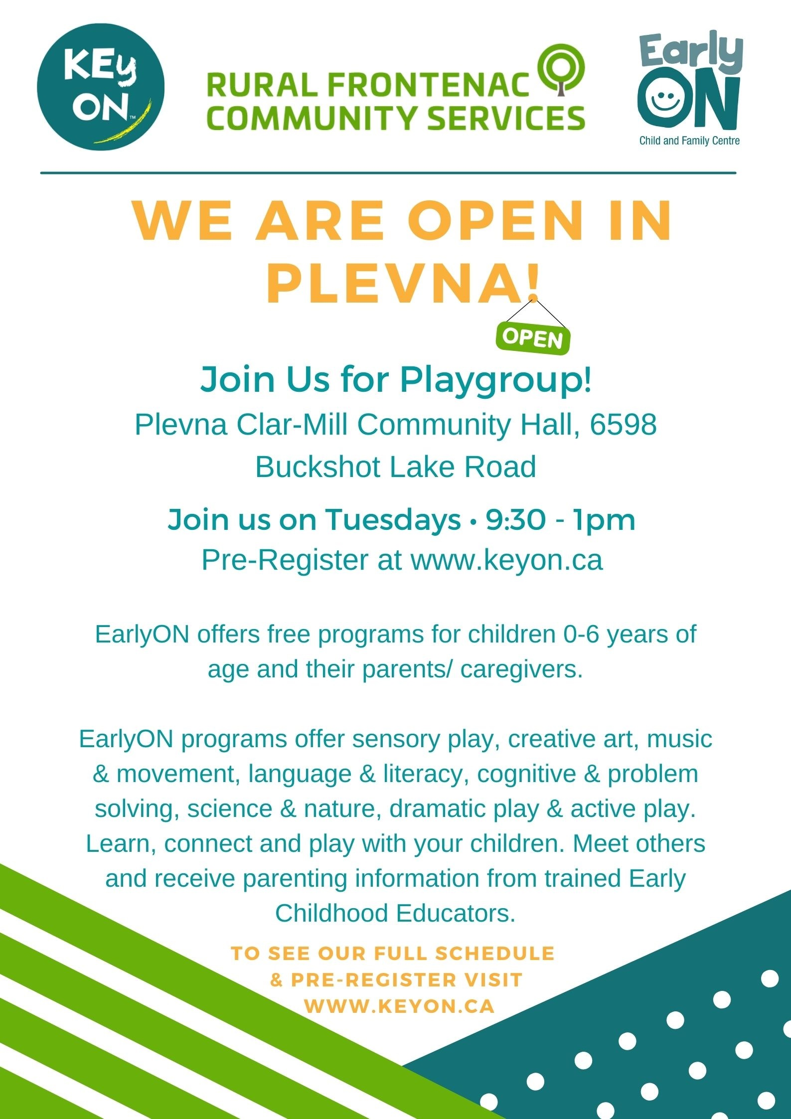 RURAL FRONTENAC COMMUNITY SERVICES WE ARE OPEN IN PLEVNA  Join Us for Playgroup!