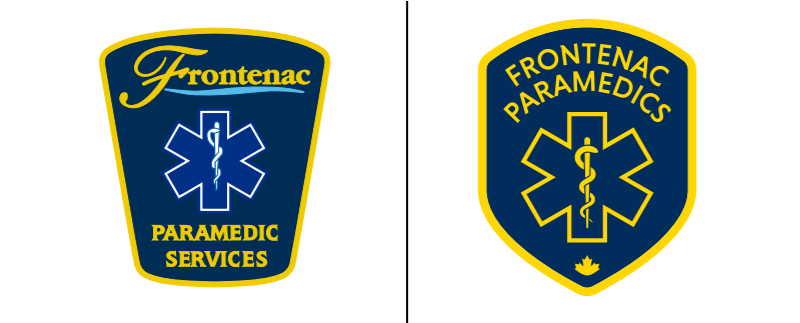 Old and new Frontenac paramedics logo side-by-side