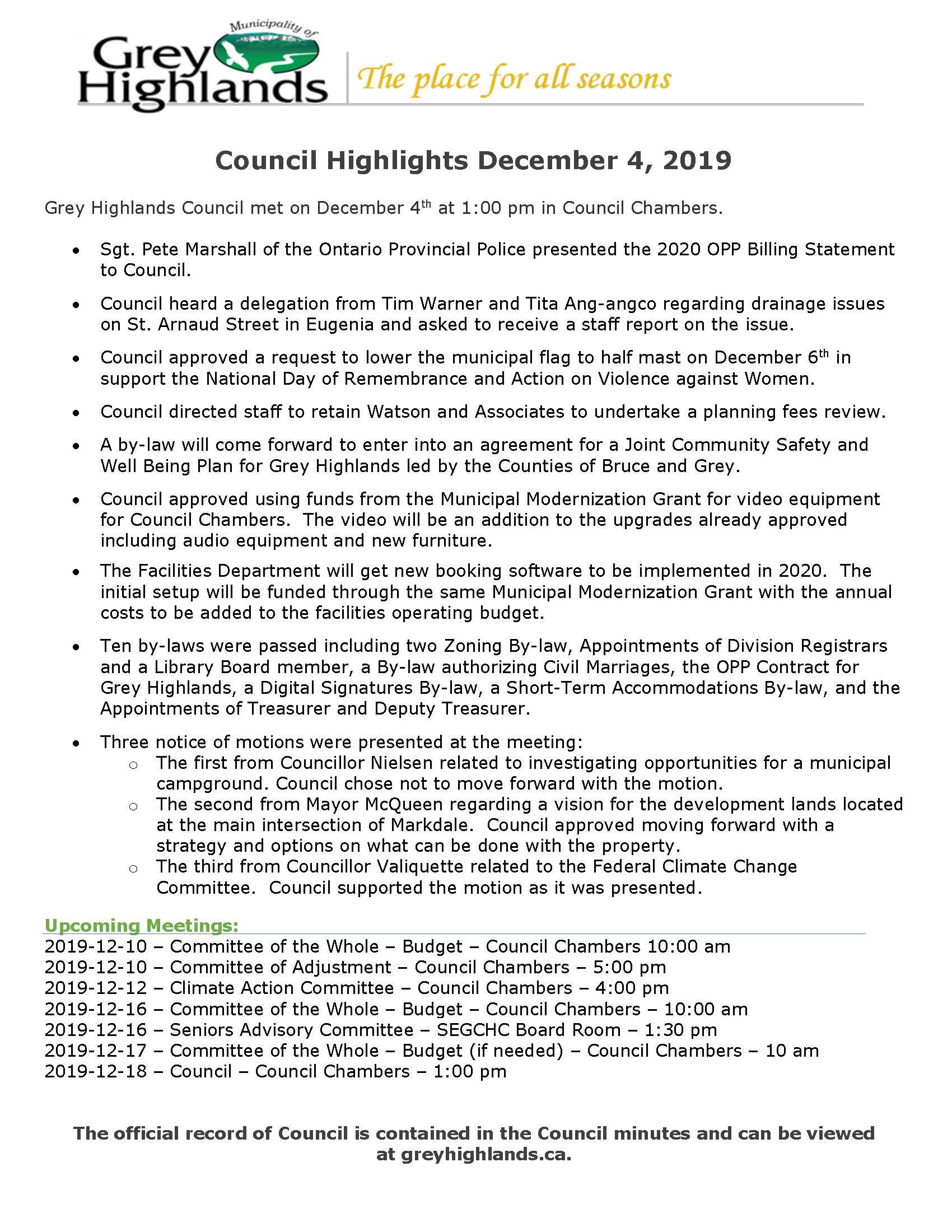 Council Highlights Dec 4