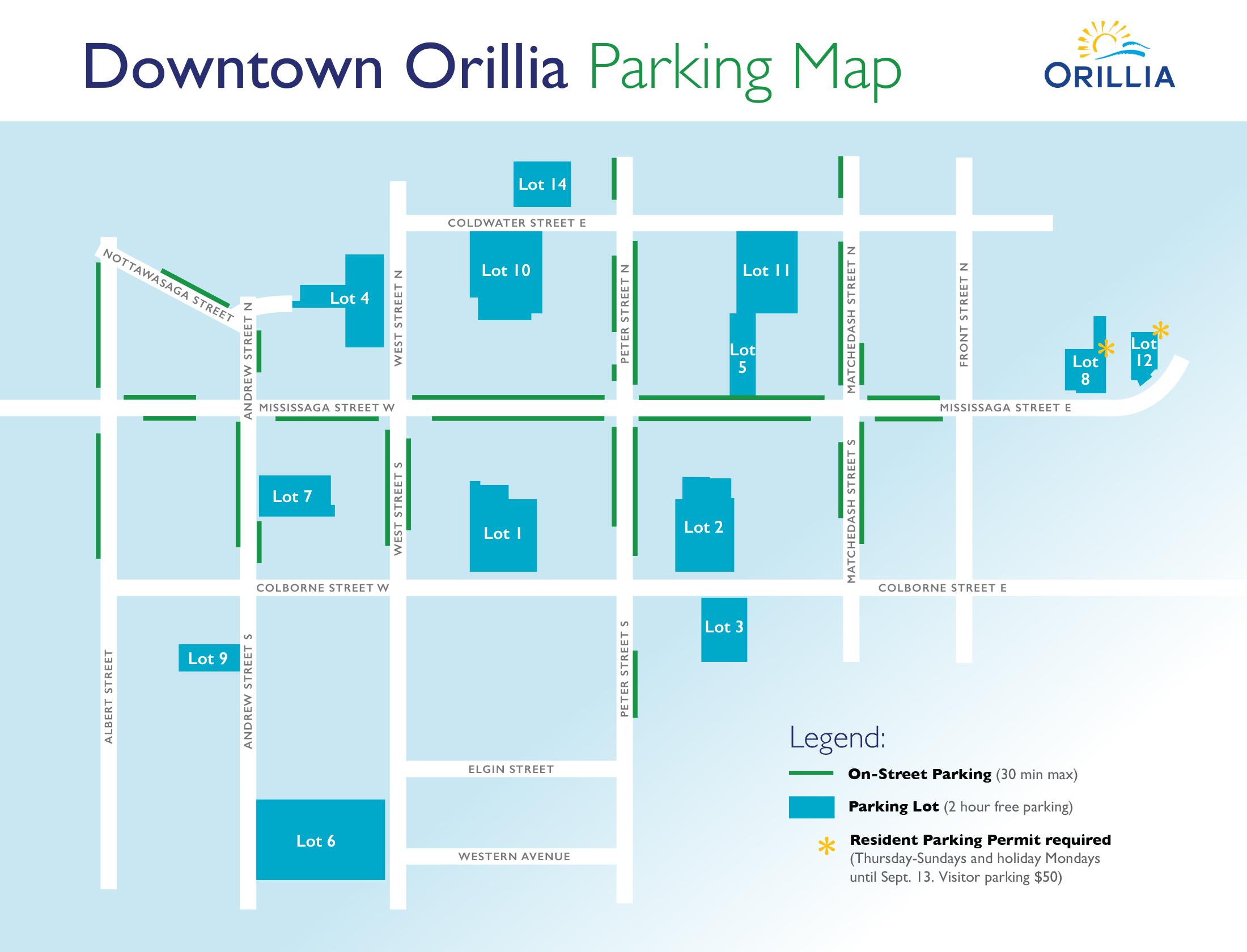 Downtown Orillia Parking Map