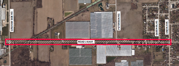 A map showing the impacted area on Road 2 East