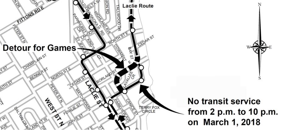 Orillia Transit Laclie Route Detour March 1, 2018
