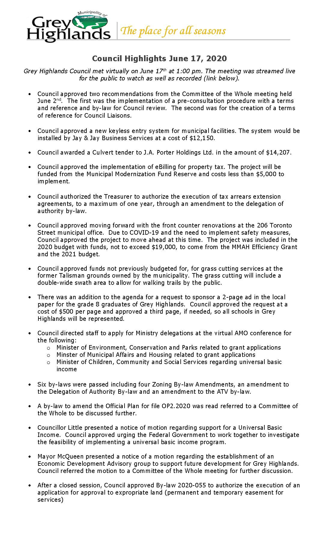 Council Highlights June 17, 2020