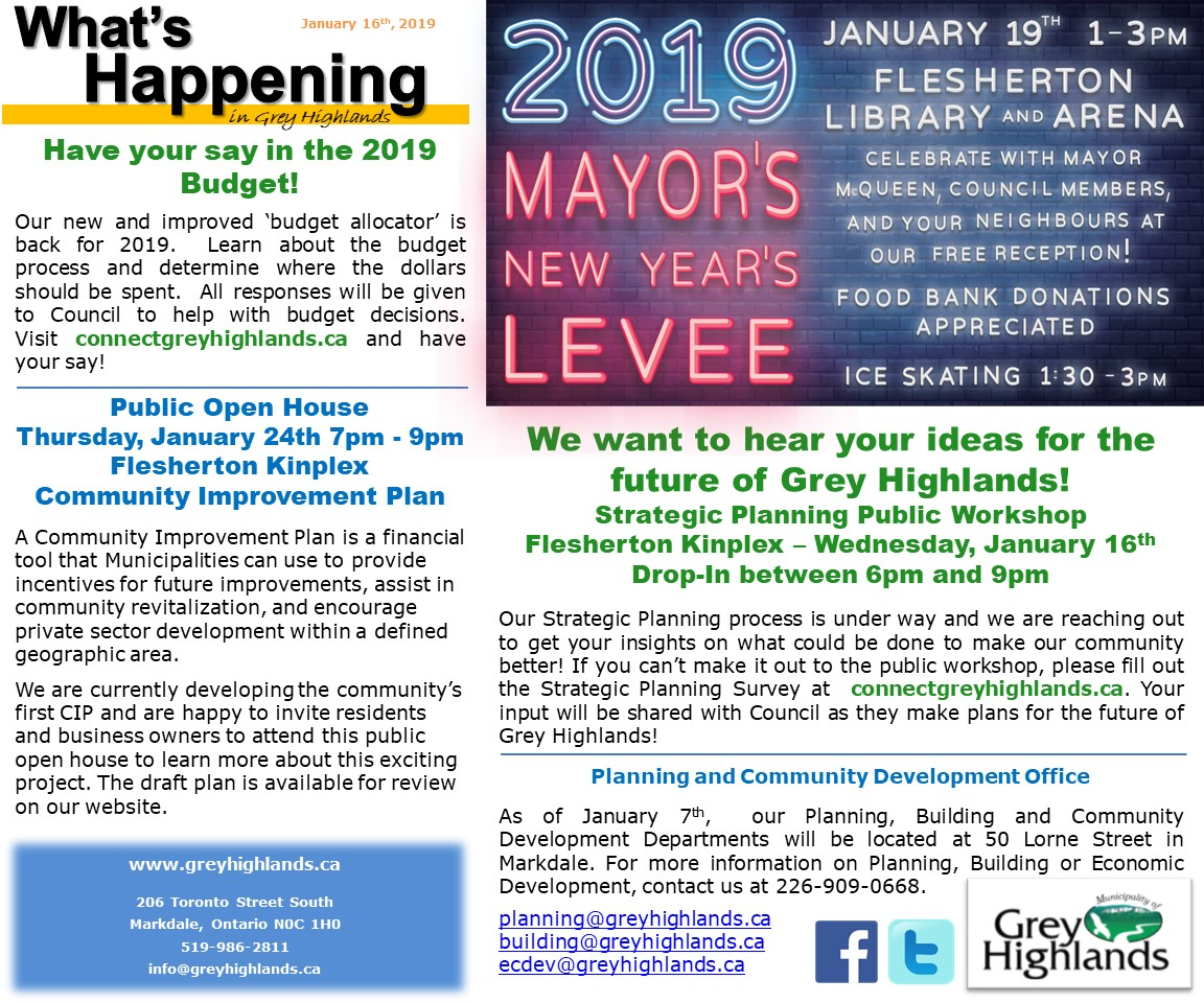 What's Happening January 16, 2019