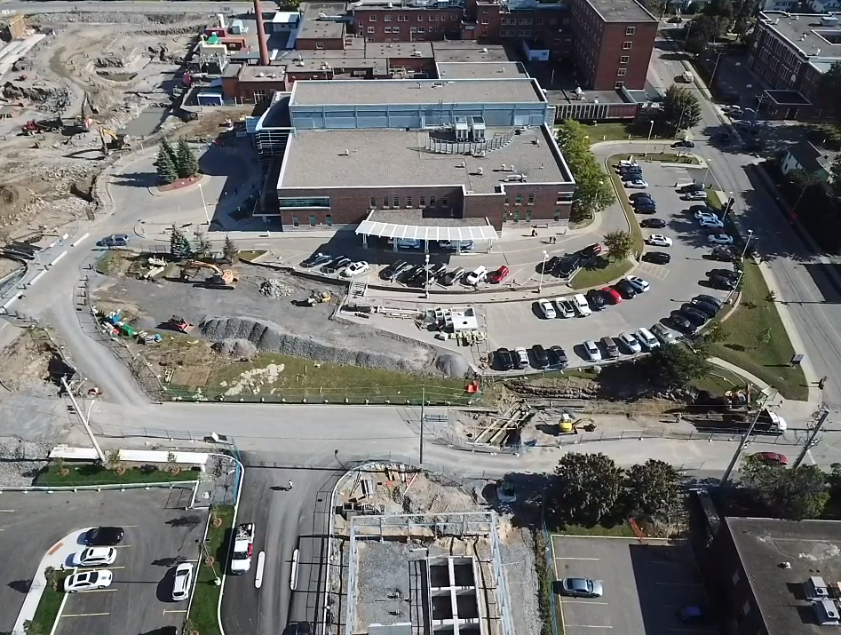 Drone footage of parking lots