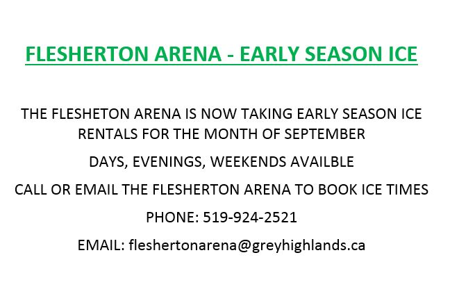 Flesherton Arena - Early Ice Time Bookings