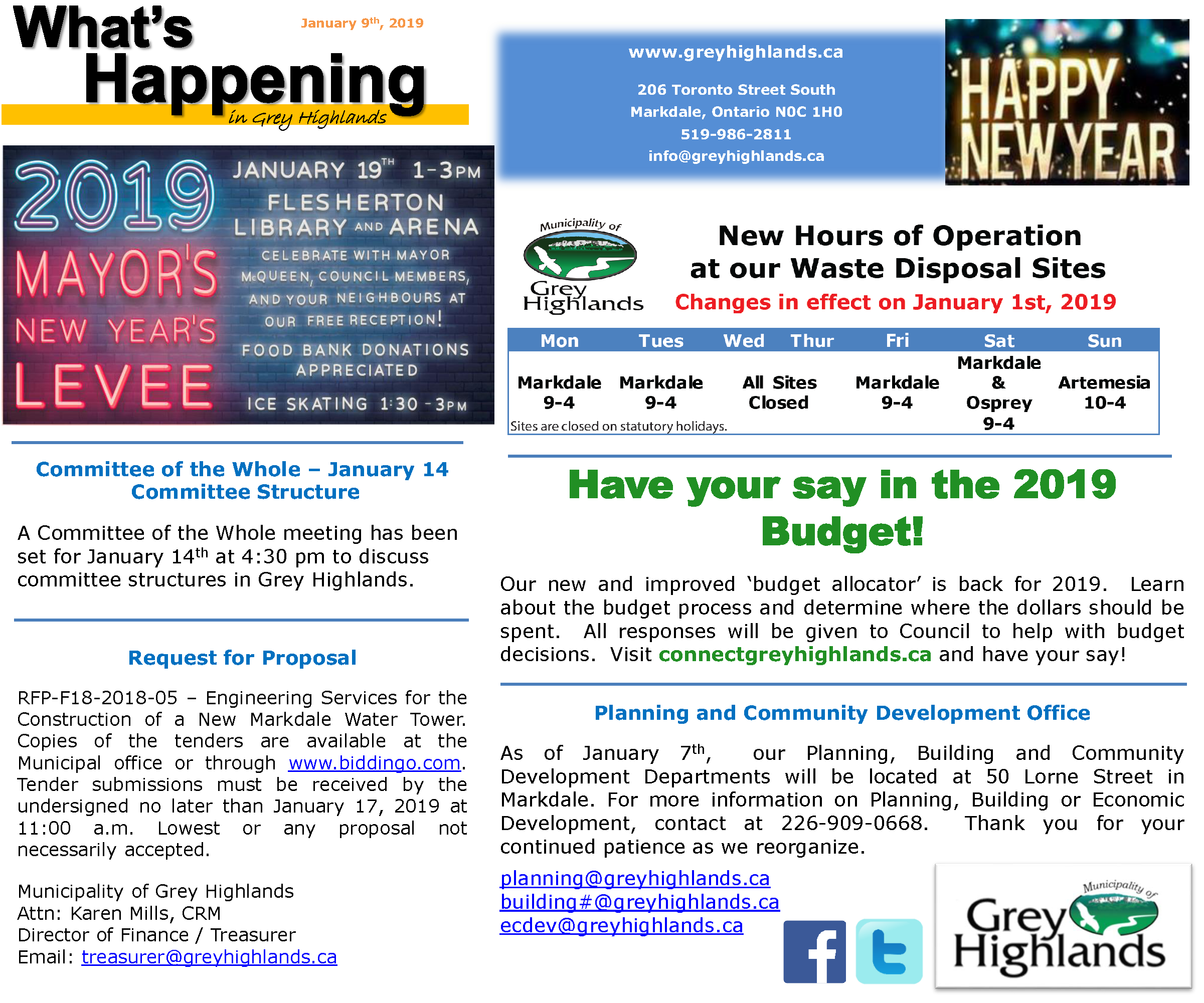What's Happening January 9th, 2019