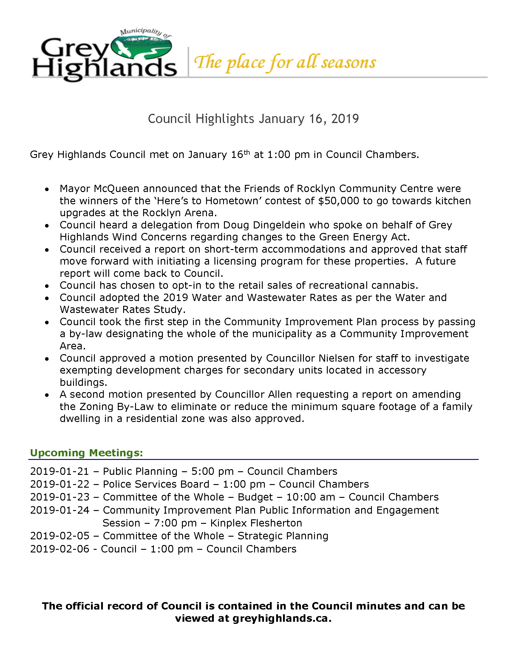 Council Highlights - January 16, 2019