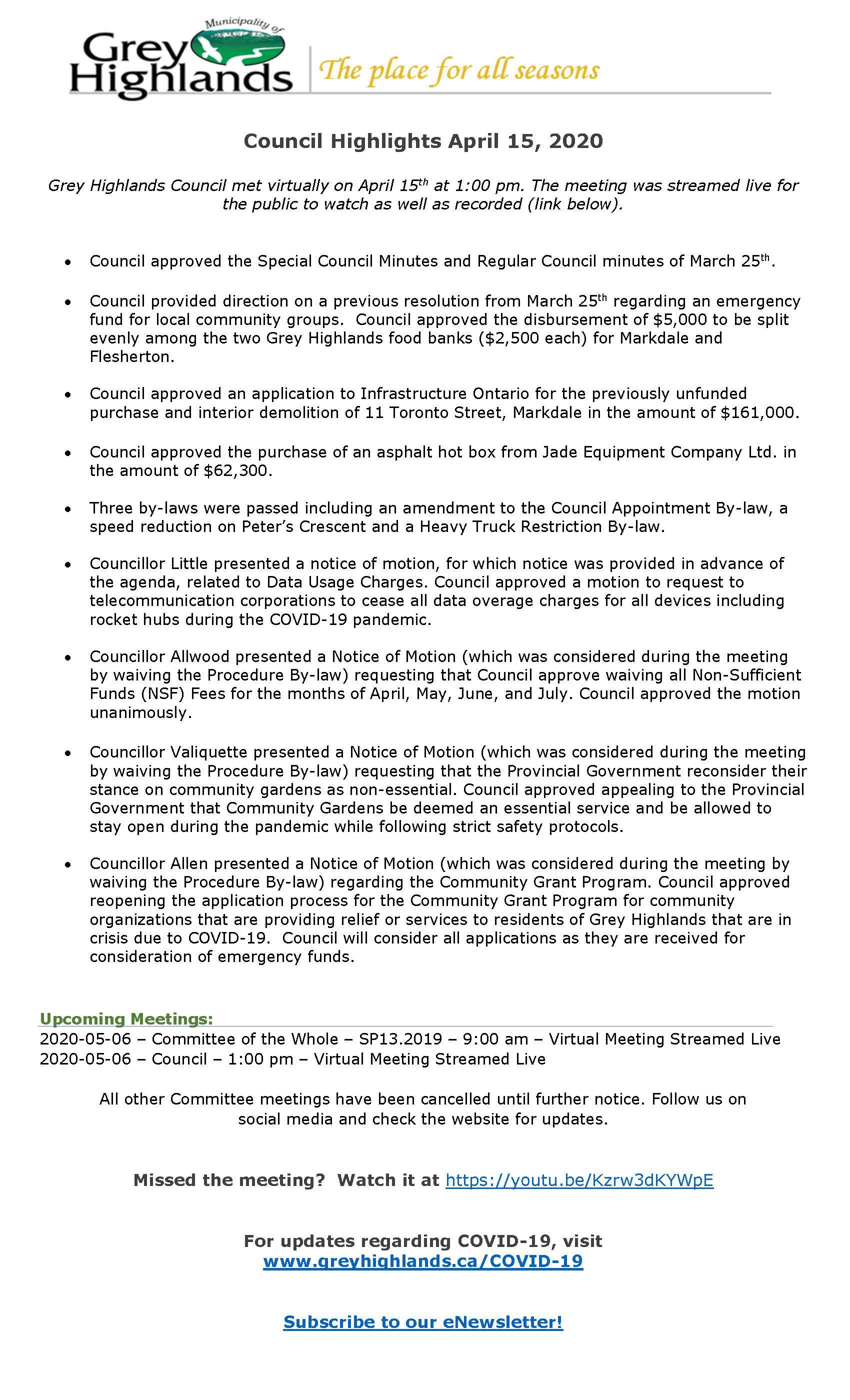 Council Highlights April 15