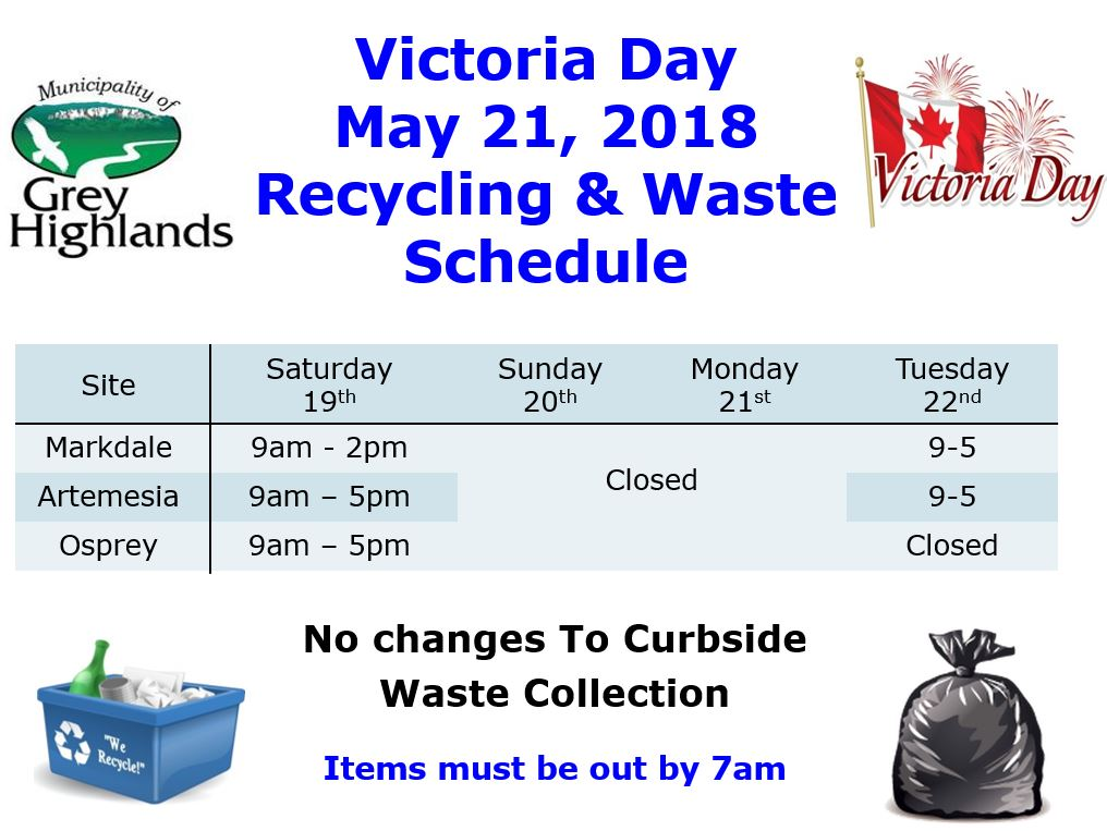 2018 Victoria Day Curbside and Waste Disposal Site Schedule