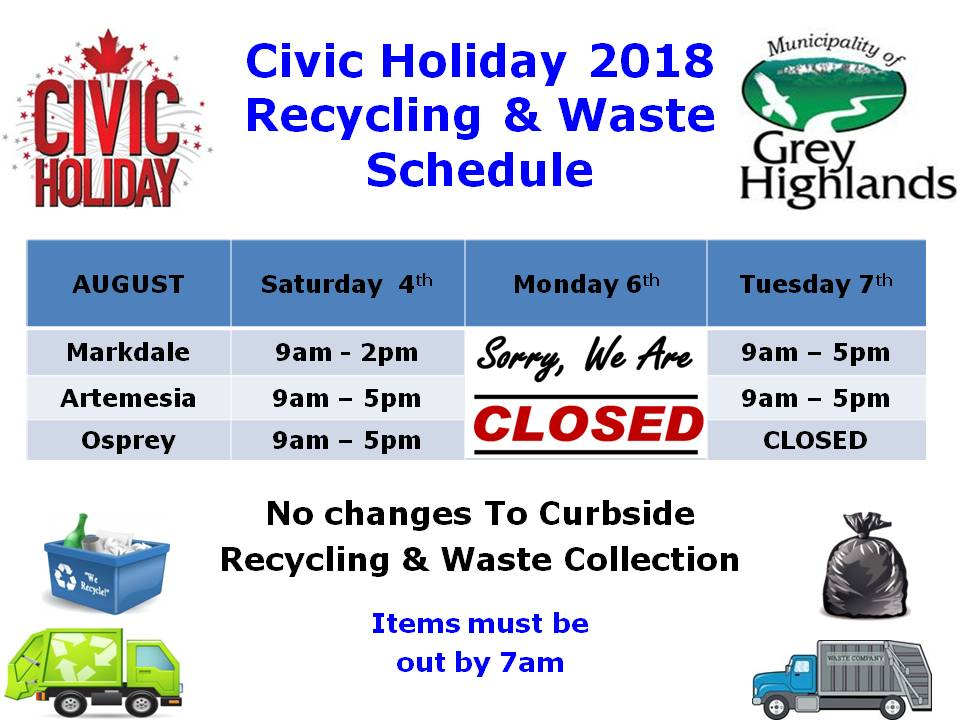 2018 Civic Holiday Waste Schedule