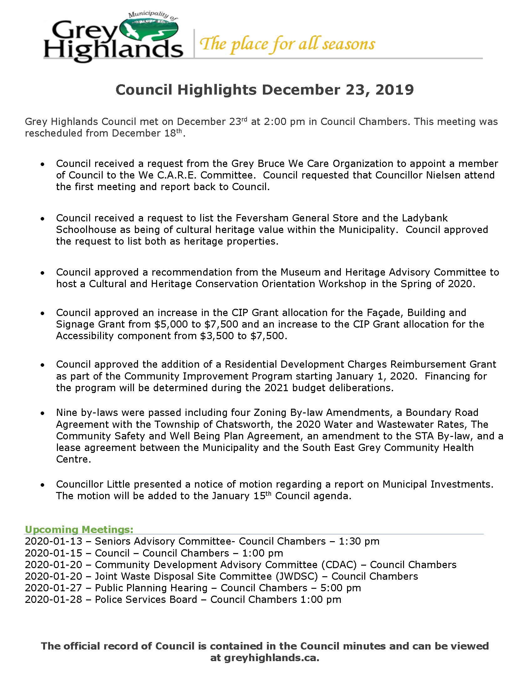 Council Highlights Dec 23, 2019