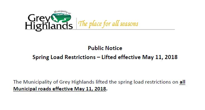 Spring Load Restrictions Lifted