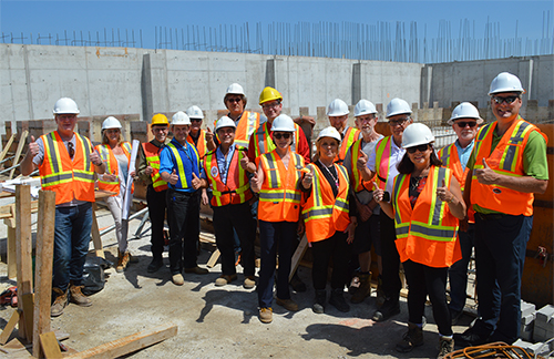 Mayor Steve Clarke, members of Council, Recreation Centre Campaign Team members and City project team members stopped to admire the pool area during a site tour of the Orillia Recreation Facility project on June 28, 2017.