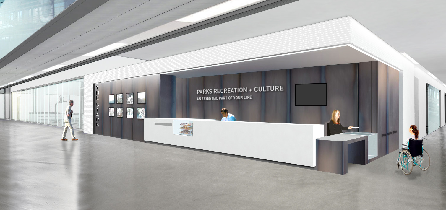 Orillia Recreation Centre - front reception desk rendering
