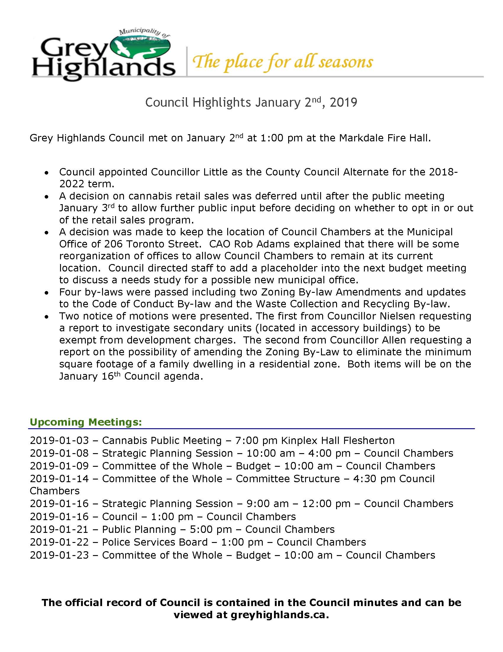 Council Highlights - January 2, 2019