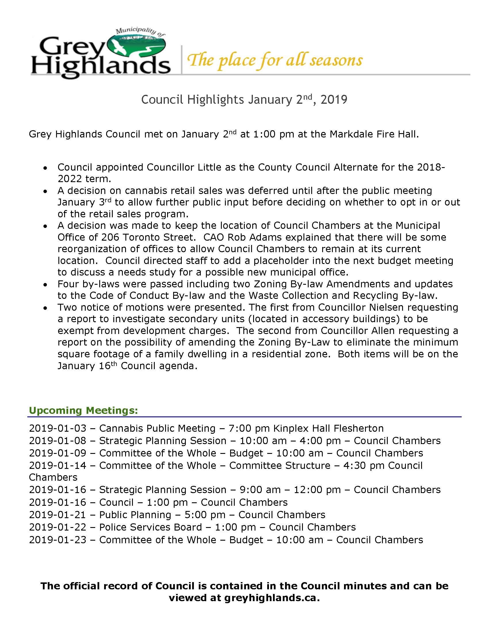 Council Highlights - January 2, 2019