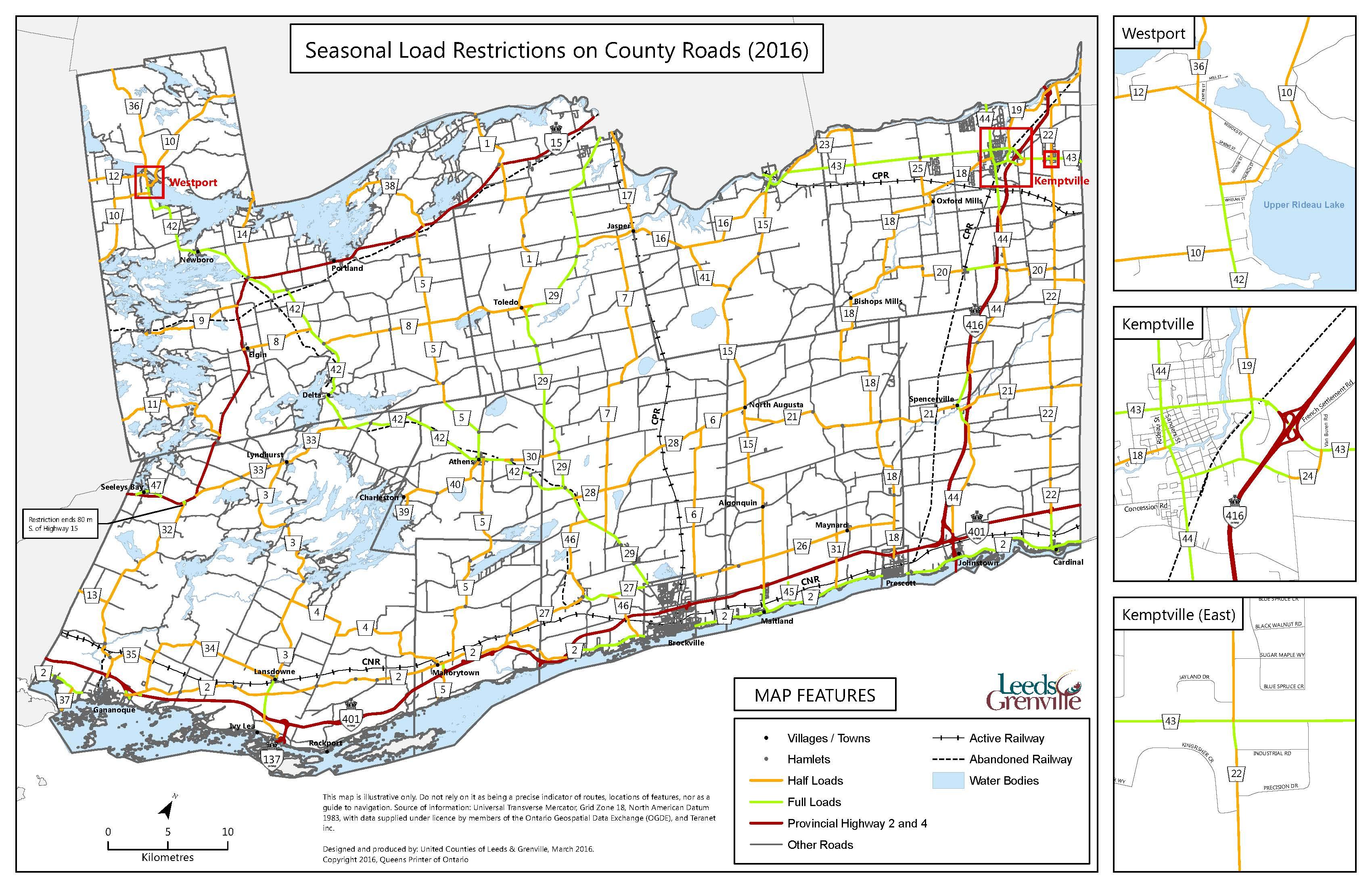 Leeds Grenville Load Restrictions Map