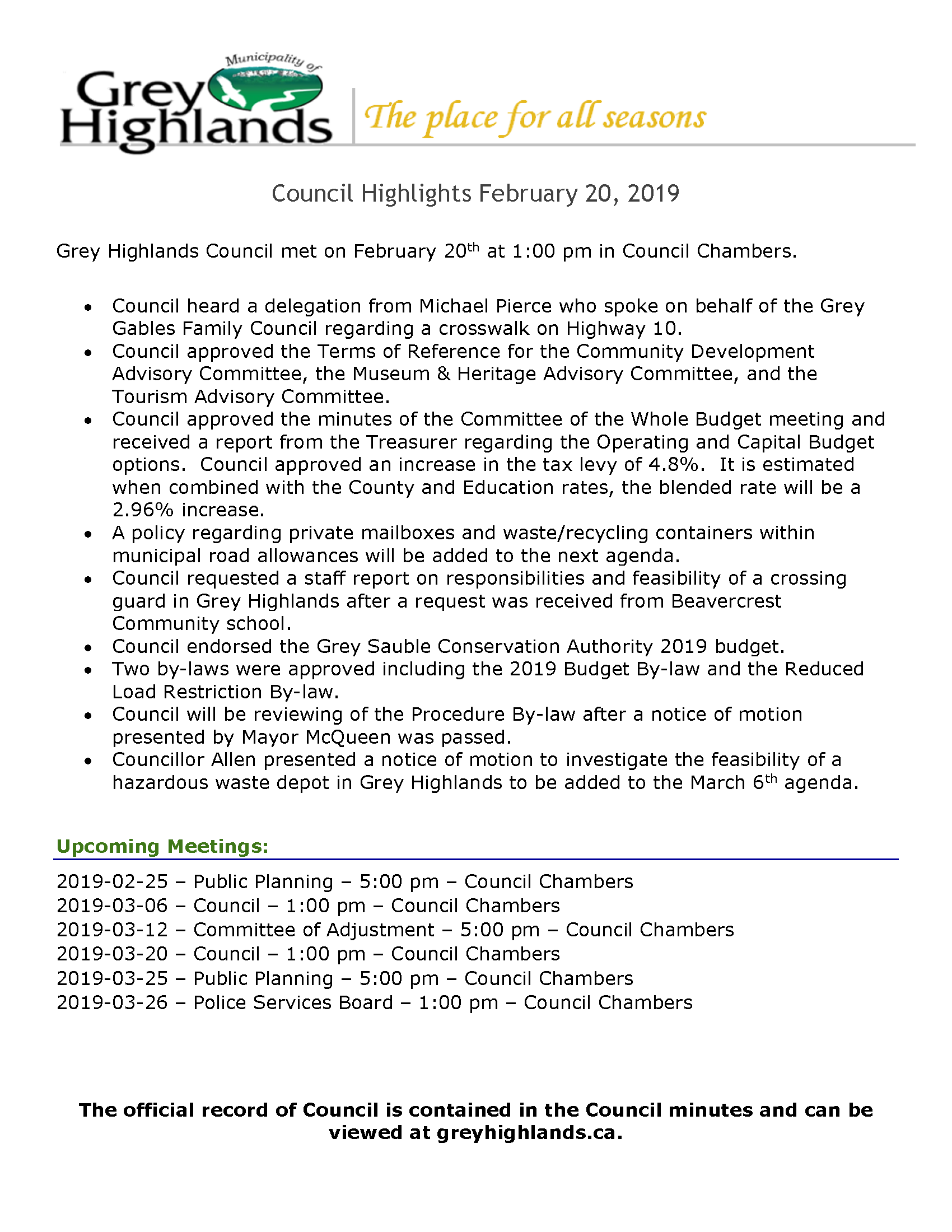 Council Highlights - February 20, 2019