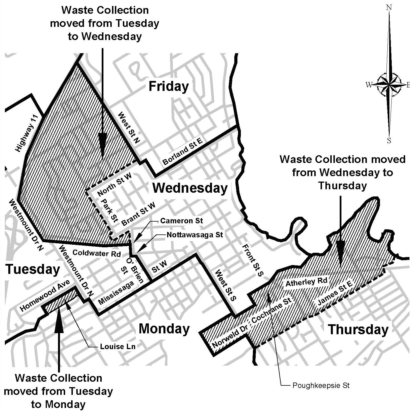 Curbside collection change map