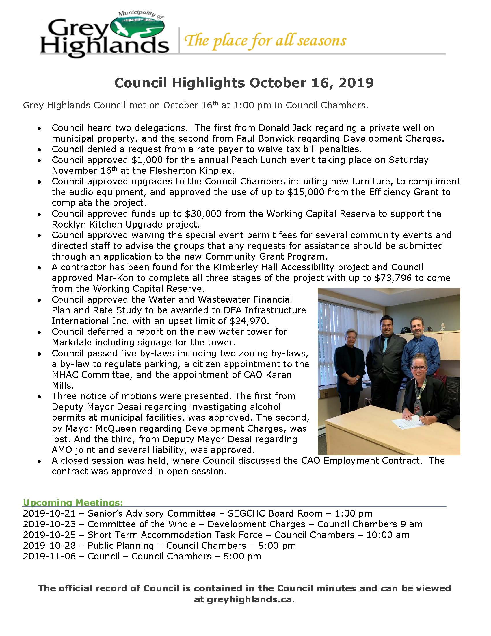 Council Highlights October 16