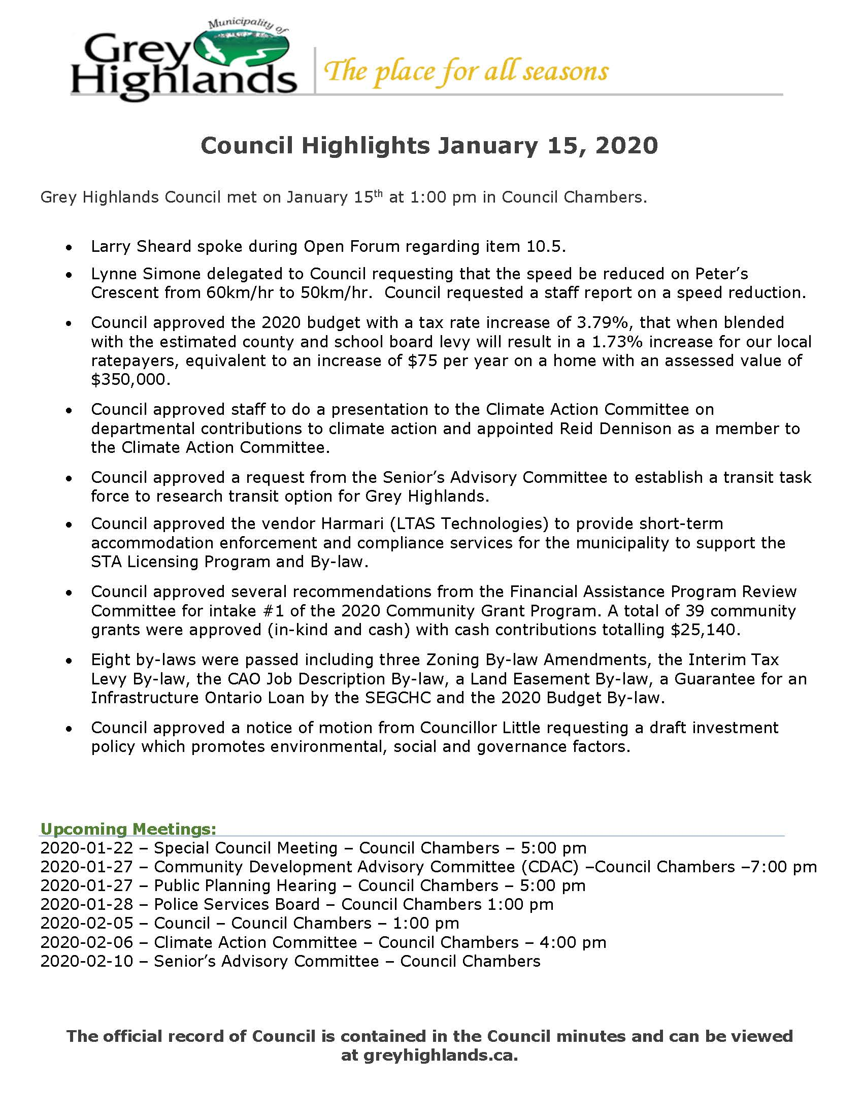 Council Highlights - January 15, 2020